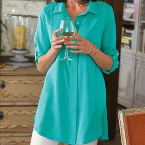 Soft Surroundings Teal Silk Button Up Tunic M